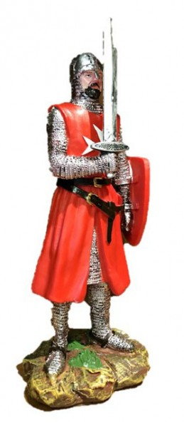 Crusader with sword in red