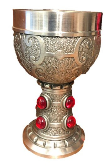Pewter cup with striking red stones and fine ornaments