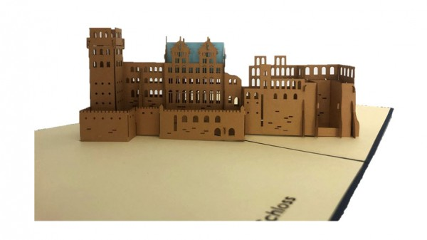 Folding card with the miniature model of the Heidelberg castle