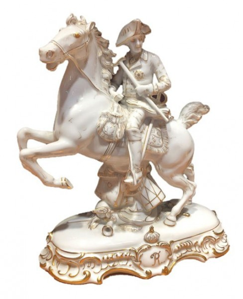 Antique porcelain rider Friedrich II. from the manufactory Fraunreuth (1920s)