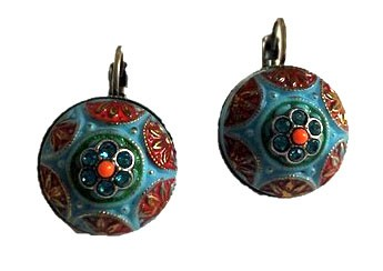 Earrings in light blue with red and green ornaments