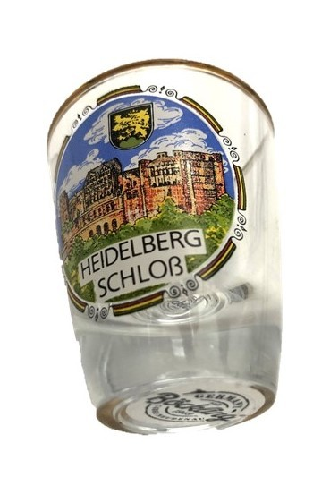 "Shot glass ""Heidelberg Schloß"" with gold rim"
