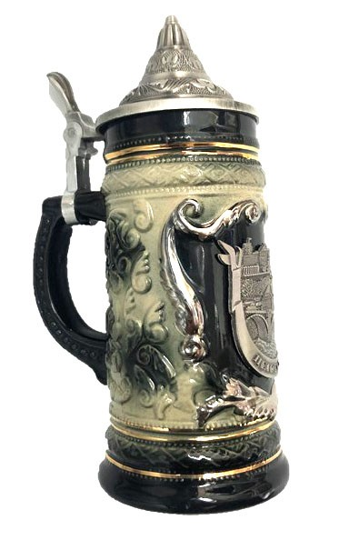Hand-decorated ceramic beer mug with tin lid - Made in Germany