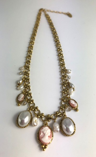 Necklace with Gemme pendants in pink as well as other framed pendants