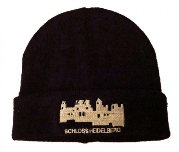 Cap in black with embroidered Castle Siluette